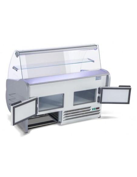 vetrina refrigerata salina 80 retro con scorrevoli - aperto