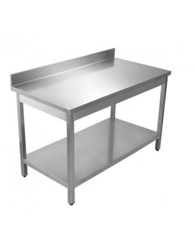 Tavolo neutro Acciaio Inox piano con alzatina 70x70x90h