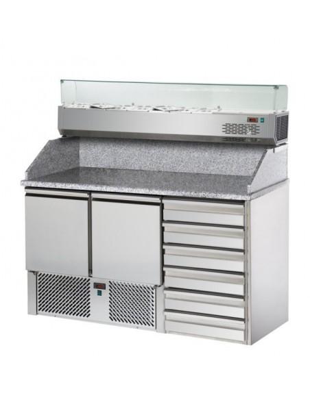 Saladette 2 porte, 6 cassetti, piano in granito e Vetrina Refrigerata