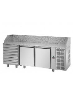 Tavolo refrigerato Pizza con 2P, 6 cassetti neutri e piano in granito