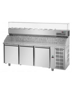 Tavolo refrigerato Pizza 3P, piano in granito e Vetrina Refrigerata