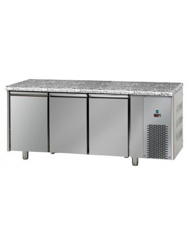 Tavolo Refrigerato con 3 porte e piano di lavoro in Granito bassa ...