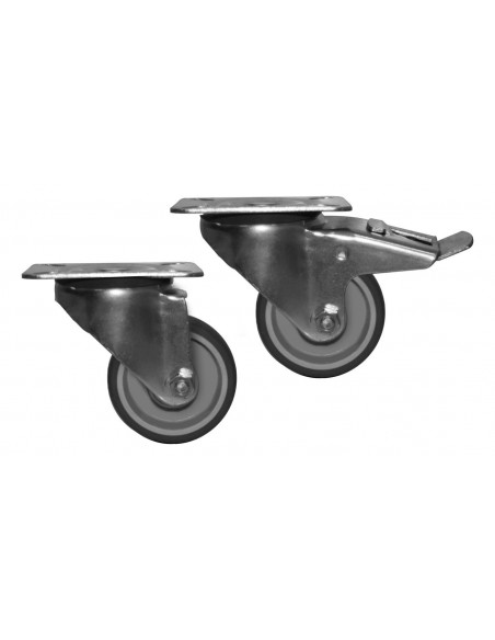 Kit ruote 80 mm (2 con freno e 2 senza freno)