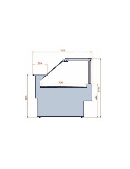 Banco refrigerato ventilato da esposizione M 1000 Frontale Alto - Dimensioni