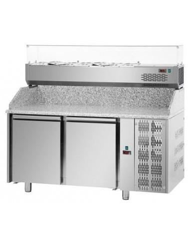 Tavolo refrigerato pizza 60x40 2 porte, piano in granito e vetrina refrigerata