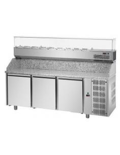Tavolo refrigerato pizza 60x40 3 porte, piano in granito e vetrina refrigerata