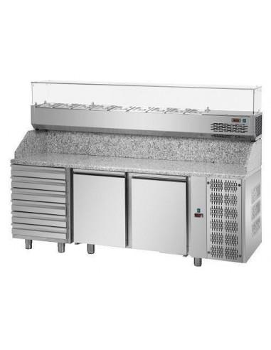 Tavolo refrigerato pizza 60x40 2 porte, 6 cassetti neutri, piano in granito e vetrina refrigerata